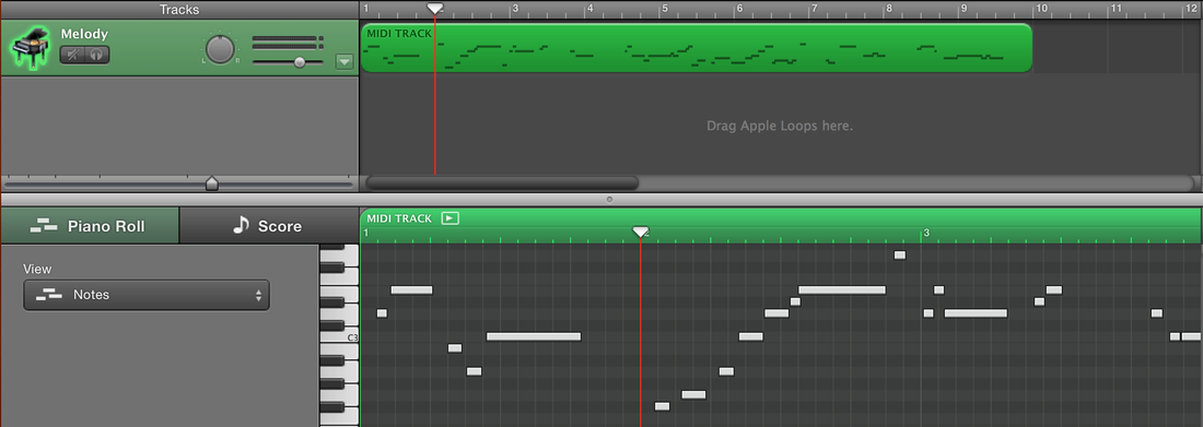 MIDI melody extracted using the audio_to_midi_melodia script and loaded into GarageBand
